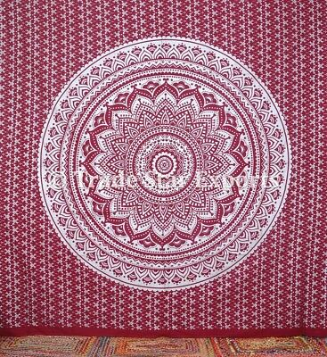 "Indian Ethnic Mandala Tapestry King Silver 108"" Boho Psychedelic Wall Hanging"
