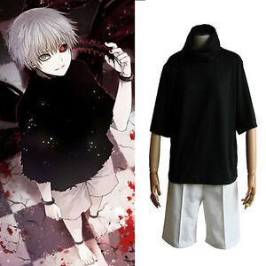 Hot Tokyo Ghoul Anime Cosplay Kaneki Ken Irregular Cuff Black Top