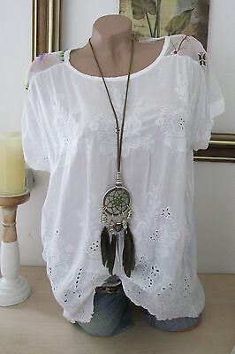 Sale Sommer Shirt Tunika mit Stickerei Weiß Bunt Hippie Vintage Boho 38 40 42