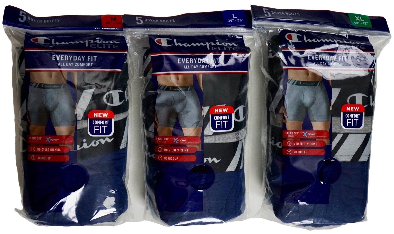 ELITE Boxer Briefs X-TEMP M *Champion Mens, Two 5 packs Open Bag NWOT