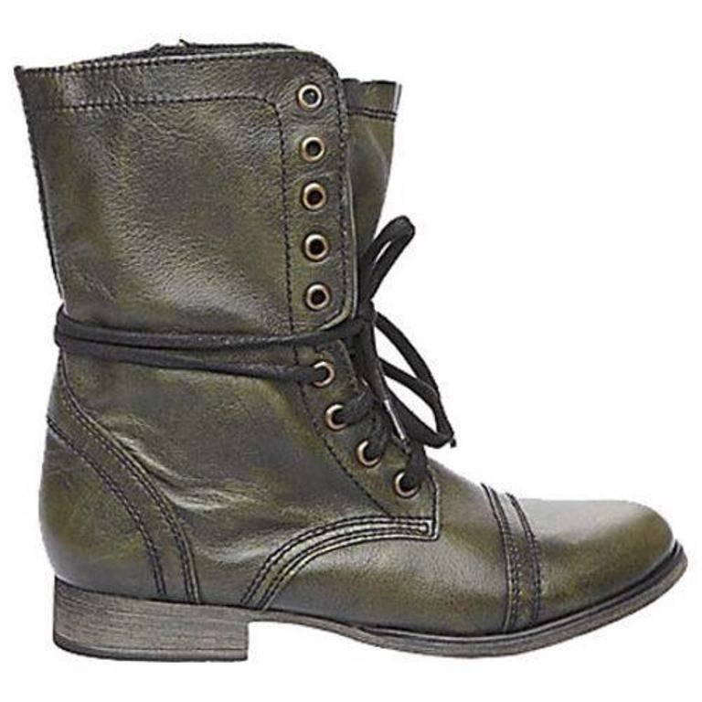 Women's Shoes Steve Madden TROOPA Ankle Boots Leather Dark Green
