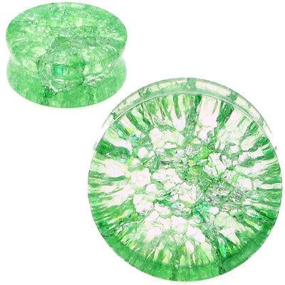 PAIR-GREEN SHATTERED QUARTZ-Organic Flesh Tunnels- Stone Ear Plugs-Ear Gauges-