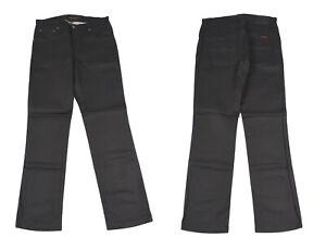 Nudie Slim Jim Sec Enduit Noir Jeans Jambe Droite Hommes Jean W31 L32