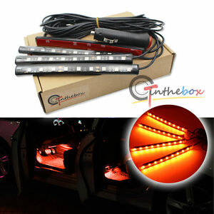 orange led car interior under dash foot lighting kit led accent lights 4 x 6 ebay. Black Bedroom Furniture Sets. Home Design Ideas
