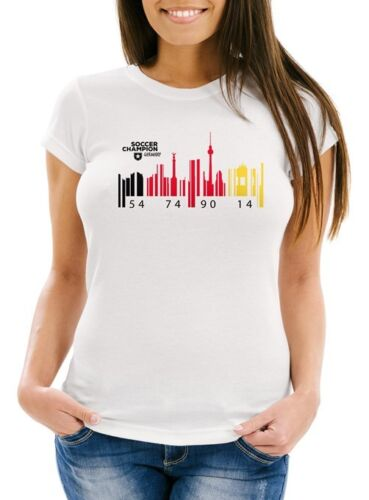 Damen T-Shirt Deutschland WM Flagge Barcode Skyline Berlin Fan Shirt Moonworks®