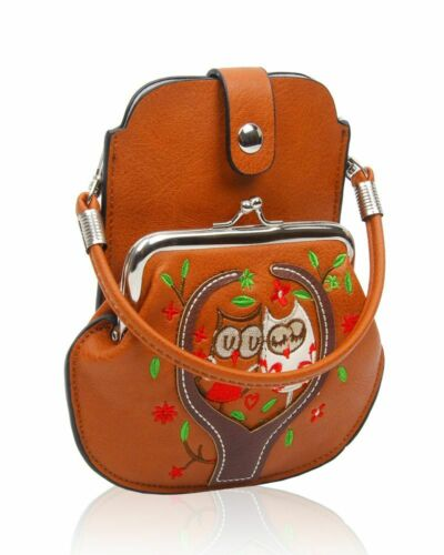 New Women/'s Girls Embroidery Owl Patterned Mobile Phone Pouch Purse Mesenger Bag