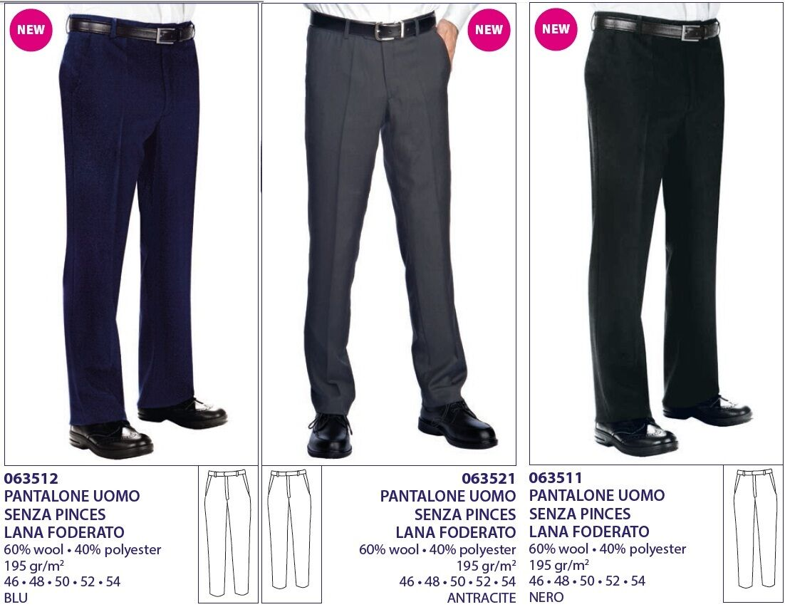 TROUSERS WITHOUT PINCES WOOL LINED HOTELIER ISACCO HOTEL KEEPER TROUSERS