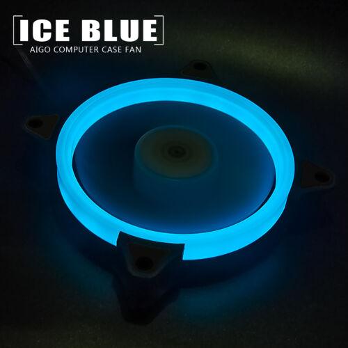 1pcs Aigo Ice Blue Halo LED 140mm PC Computer Case Cooler Ring Clear Quite Fan