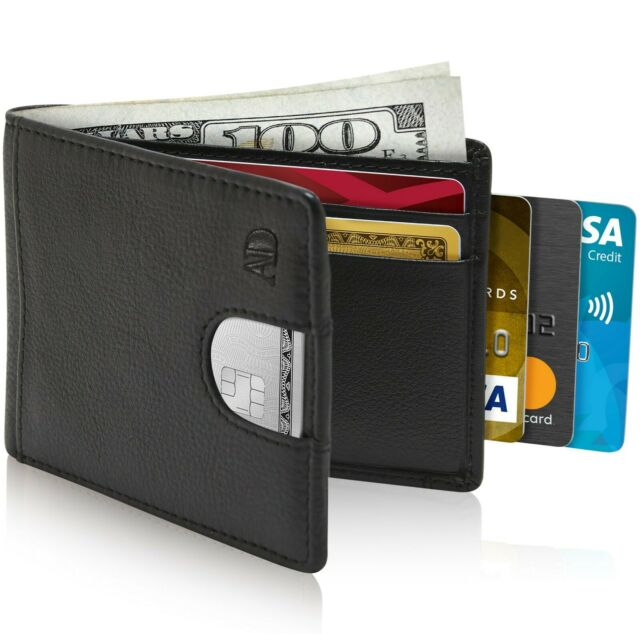 0d385b985b9e Leather Slim Wallets For Men Minimalist Bifold Mens Wallet With Pull Strap  RFID