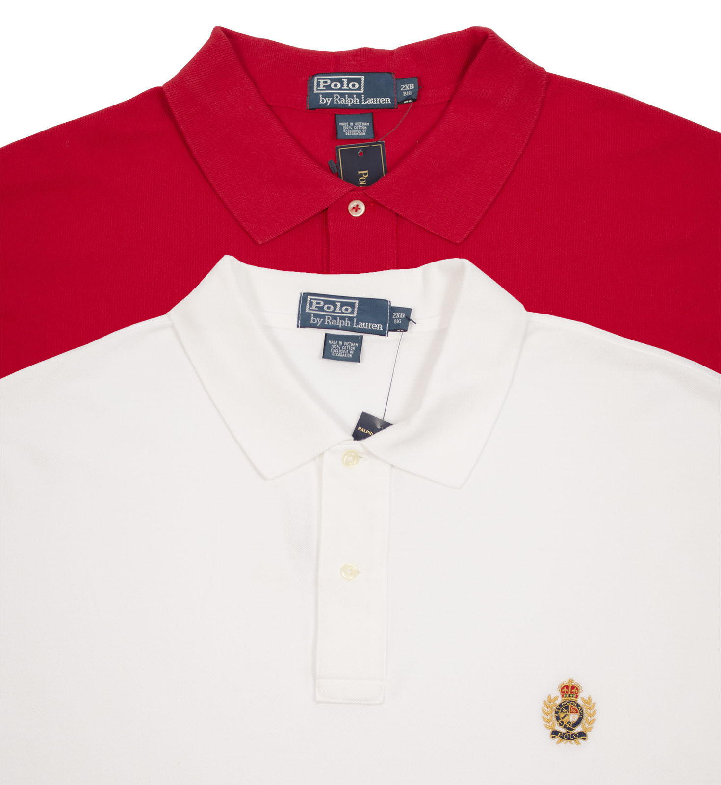 POLO RALPH LAUREN BIG TALL MEN'S COTTON RED WHITE MESH SHIRT TOP LOGO AS304