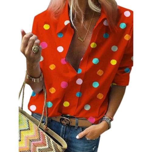 Plus Size Women/'s Polka Dot V-Neck Casual T Shirts Long Sleeve Loose Tops Blouse