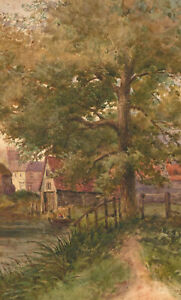 Early-20th-Century-Watercolour-Village-View-with-Tree-and-Cottages