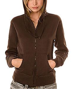 Zipper-Jacke-Kapuzensweater-Damen-Frauen-Hanes-Jacket-braun-schoko-M-Top-Qualitae