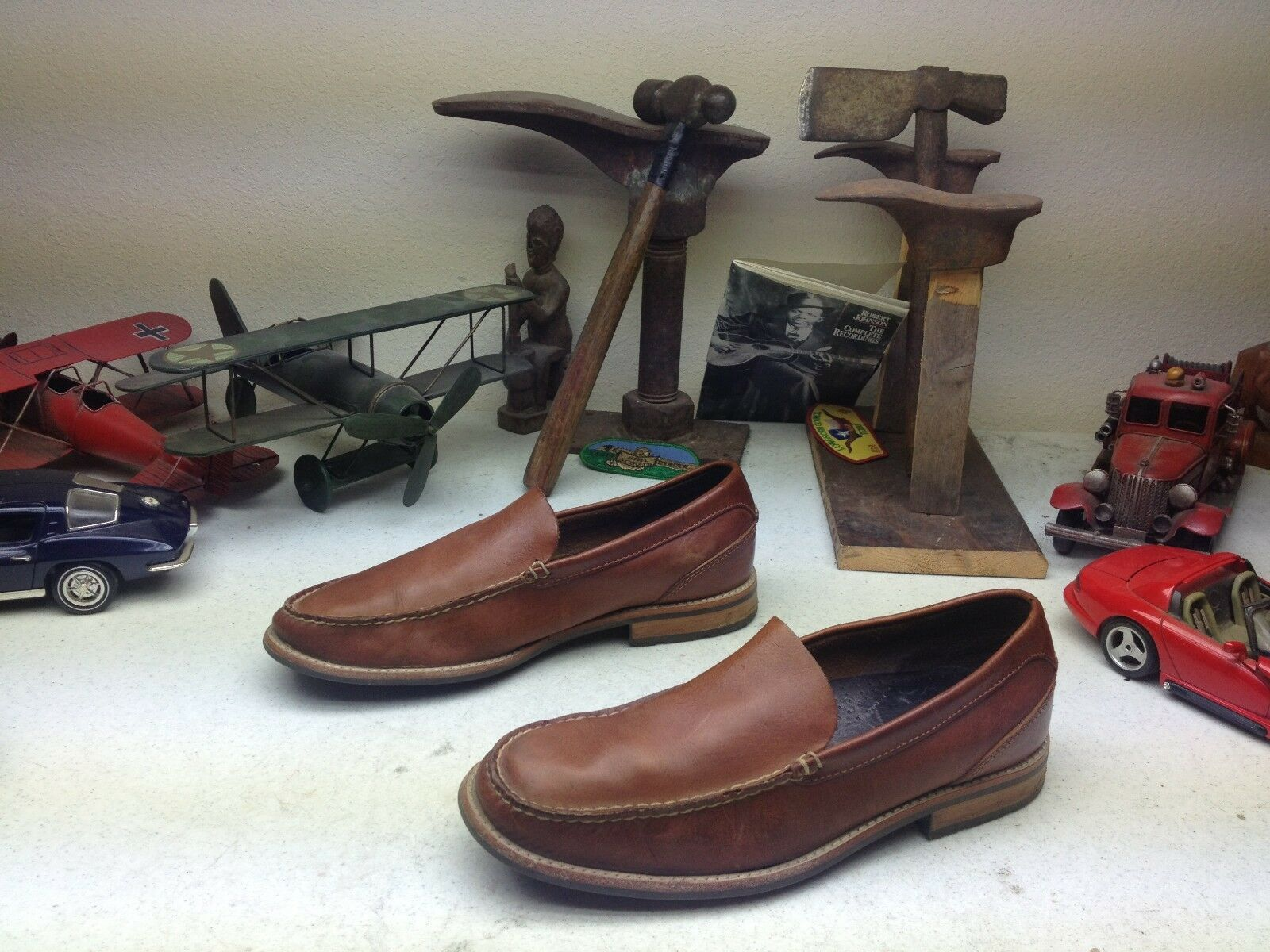 Scarpe casual da uomo TOP SIDER SPERRY COOL BROWN LEATHER SLIP ON BOAT DECK SATURDAY SUMMER SHOES 10M
