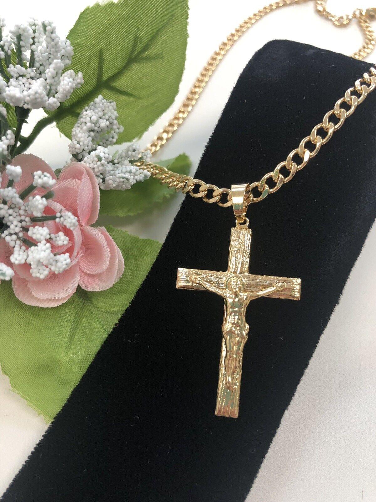 Cadena y Cruz de gold laminado, Hombre, 18k gold Plated Cross & Chain, Men`s Gift