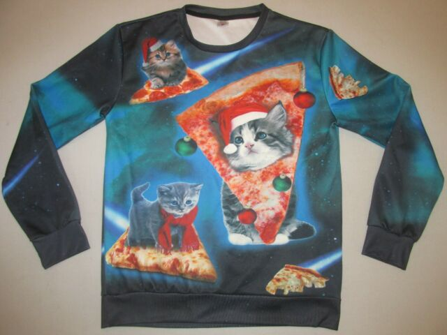 Pizza Cat Christmas Santa Space Ugly Crew Sweatshirt * Medium * FREE SHIPPING!!