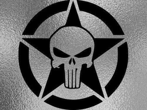 1 Sticker Retro Reflective Punisher Star Skull Motorbike Helmet