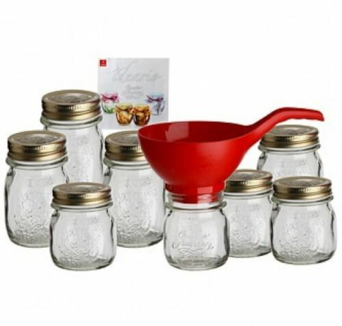 NEW BORMIOLI ROCCO QUATTRO STAGIONI STARTER PACK CANNING JARS LIDS FUNNEL CLEAR