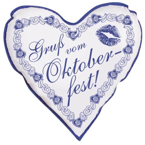 Herzkissen Gruß vom Oktoberfest Deko-Kissen 38 cm Herz Kissen 06949