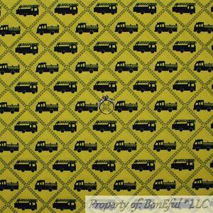 BonEful Fabric FQ Cotton Quilt Yellow Black VTG Fire Truck Engine