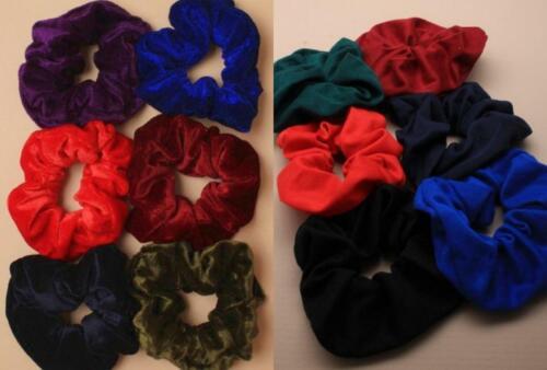 Pack of 6 school colours scrunchies hair bobble velvet or jersey