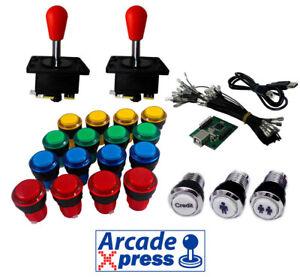 Kit-Arcade-Iluminado-x2-Spanish-joysticks-rojos-18-botones-LED-Usb-encoder