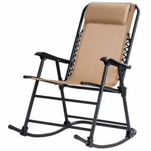 Prime Details About Folding Zero Gravity Rocking Chair Rocker Porch Outdoor Patio Headrest Beige Ocoug Best Dining Table And Chair Ideas Images Ocougorg