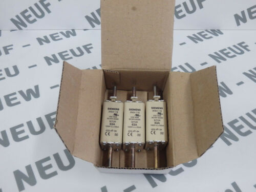 3NE4 118   //SITOR  Lot de 3 fusibles 63A 1000VAC  NEW 3NE4118 SIEMENS