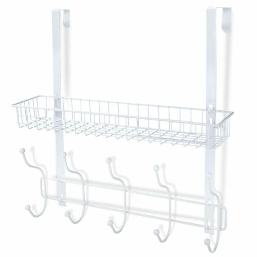 Detachable Storage Shelf White Over The Door Hanger with Mesh Basket