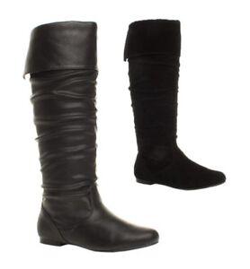 Para-Mujer-Damas-Ninas-Nuevo-talon-plano-Slouch-becerro-tirar-de-la-rodilla-alta-Botas-Zapatos-Talla