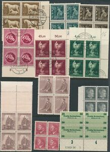 Lot-Stamp-Germany-Bohemia-Revenue-Blocks-WWII-3rd-Reich-Hitler-Ostland-MNG-U