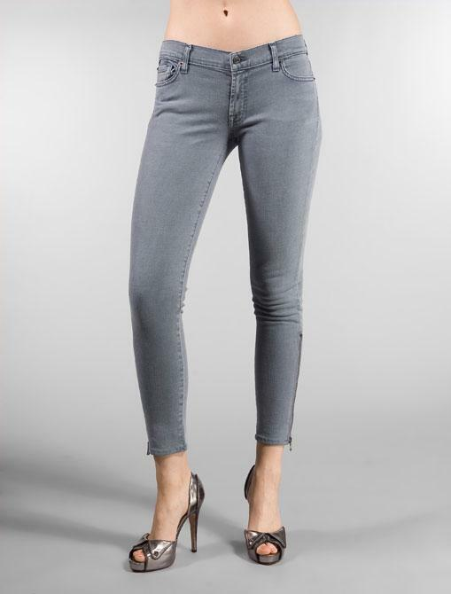 7 For All Mankind Slate Grey GWENEVERE Super Skinny Zip Ankle Jeans Size 30  185