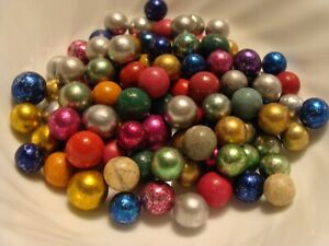 100-Vintage-Marbles-Handmade-Clay-Pee-Wee-Foil-Dyed-Rose-Purple-Red-Silver-Blue