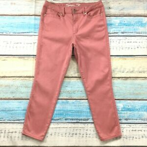 Seven7-Womens-Jeans-siz-12-Salmon-Pink-Cotton-Stretch-Capris-Cropped-Slim-Skinny