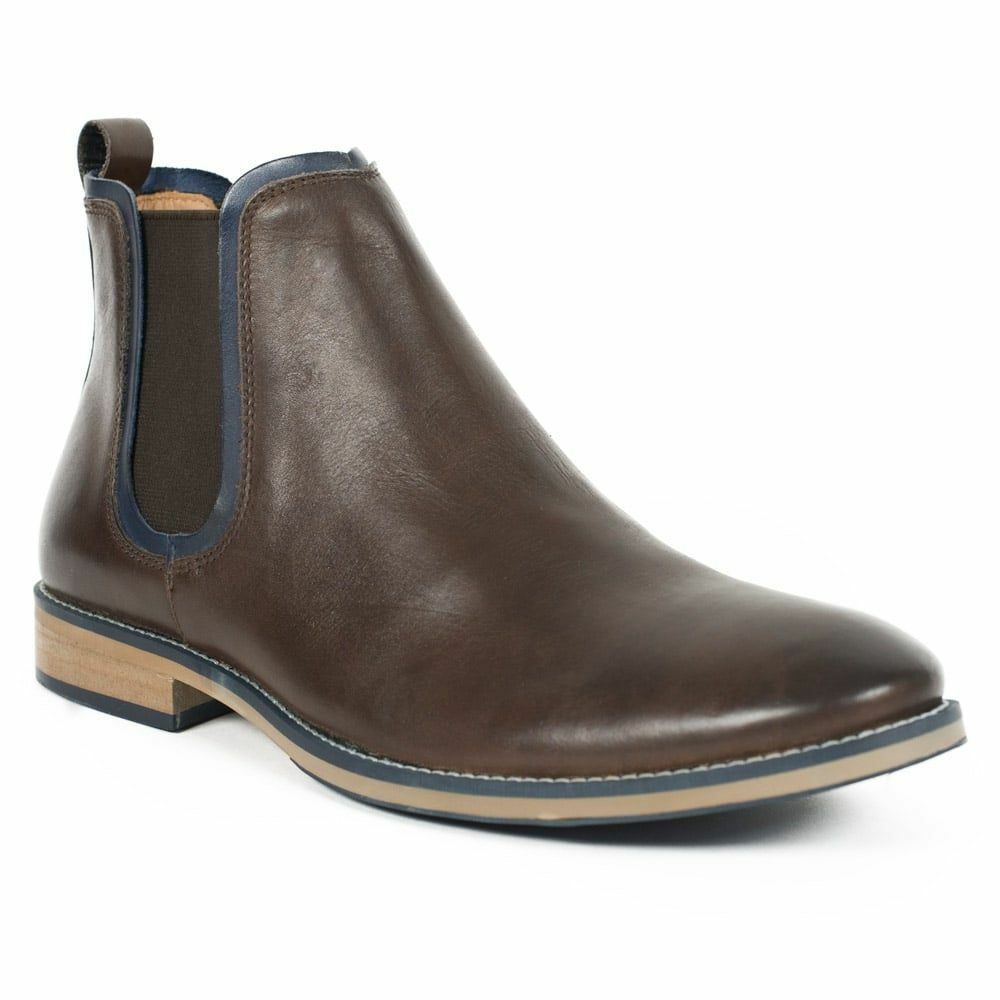 FRONT Chelsea Stanford Brown, MENS LEATHER Chelsea FRONT Stivali, a contrasto blu Trim 84dbb1