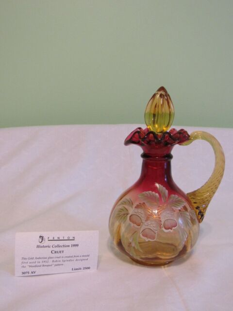 Fenton 3075 Av 1999 Gold Amberina Woodland Bouquet Cruet For Sale Online Ebay
