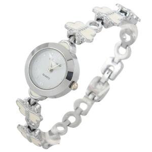 Chiffres-Arabes-Dial-Papillon-Blanc-Bracelet-Ronde-Boitier-Bracelet-Montre-E1M6