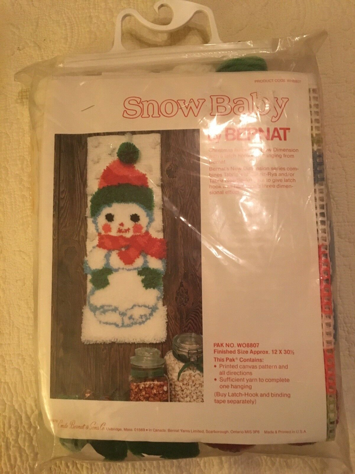Bernat Latch Hook Rug Kit Christmas Snow Baby Wall Hanging