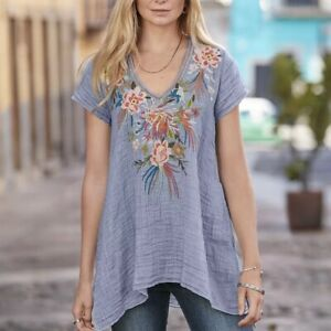 Johnny-Was-Cerretti-Tunic-S-Blue-Embroidered-Floral-Birds-Asymmetrical-Ret-198