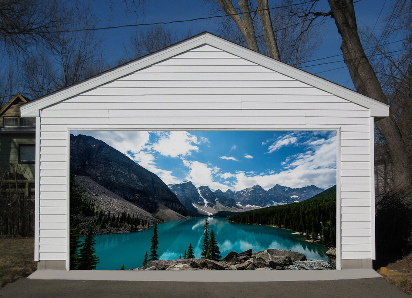 3D Mountain Sea 7 Garage Door Murals Wall Print Decal Wall AJ WALLPAPER UK Carly