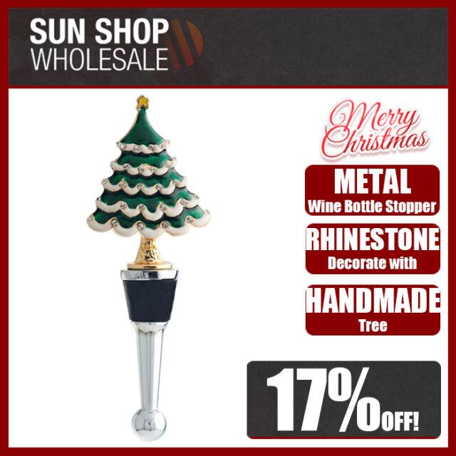 Boxed LS Arts Metal Christmas Tree Jolly Bottle Xmas Stopper w//diamantes
