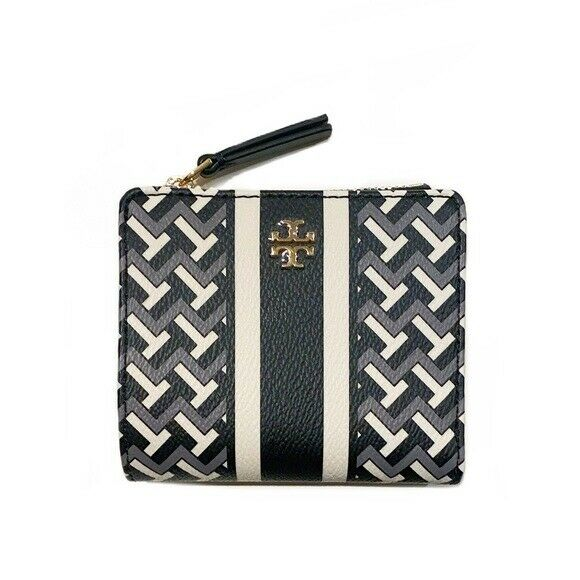 New Tory Burch Tile T-Link T Zag Zip Mini Wallet Black