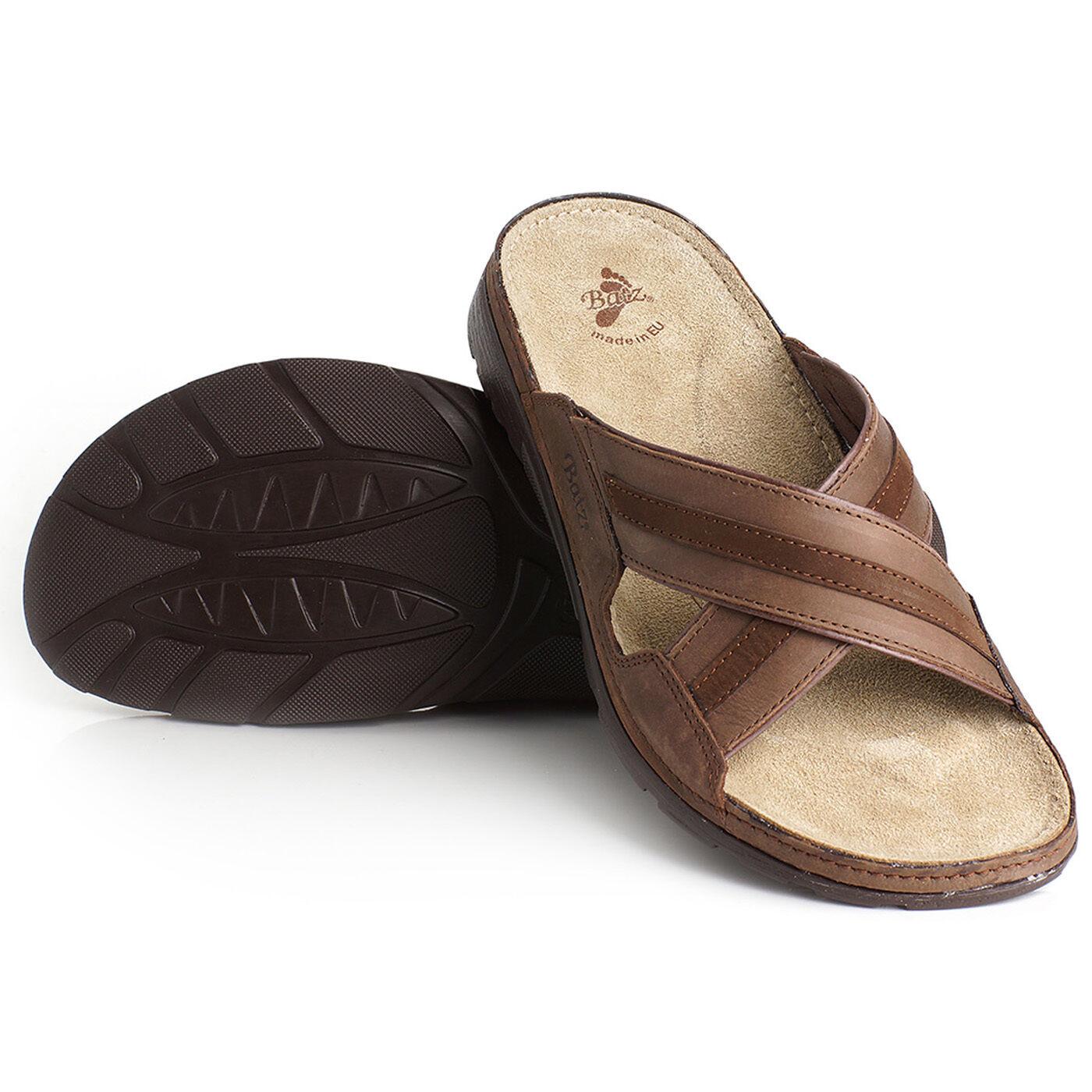 Batz Alex marrón calidad superior hecho a mano sandalias de cuero para hombres, de la UE 41-46 Reino Unido 7.5-11