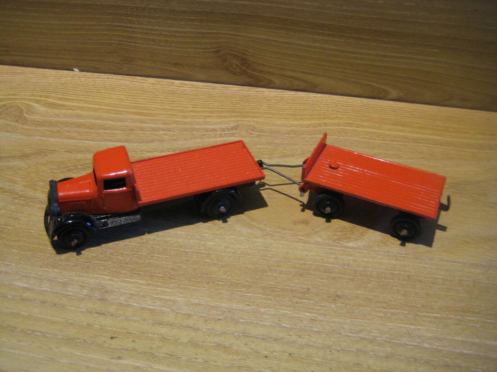 Dinky Toys Nº 25C & 25G plano camión con remolque 1948-50 Casi Nuevo