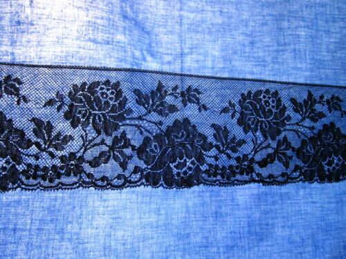 Large dentelle de Calais ancienne noire début XXè coton 1,5 m x 7,5 cm