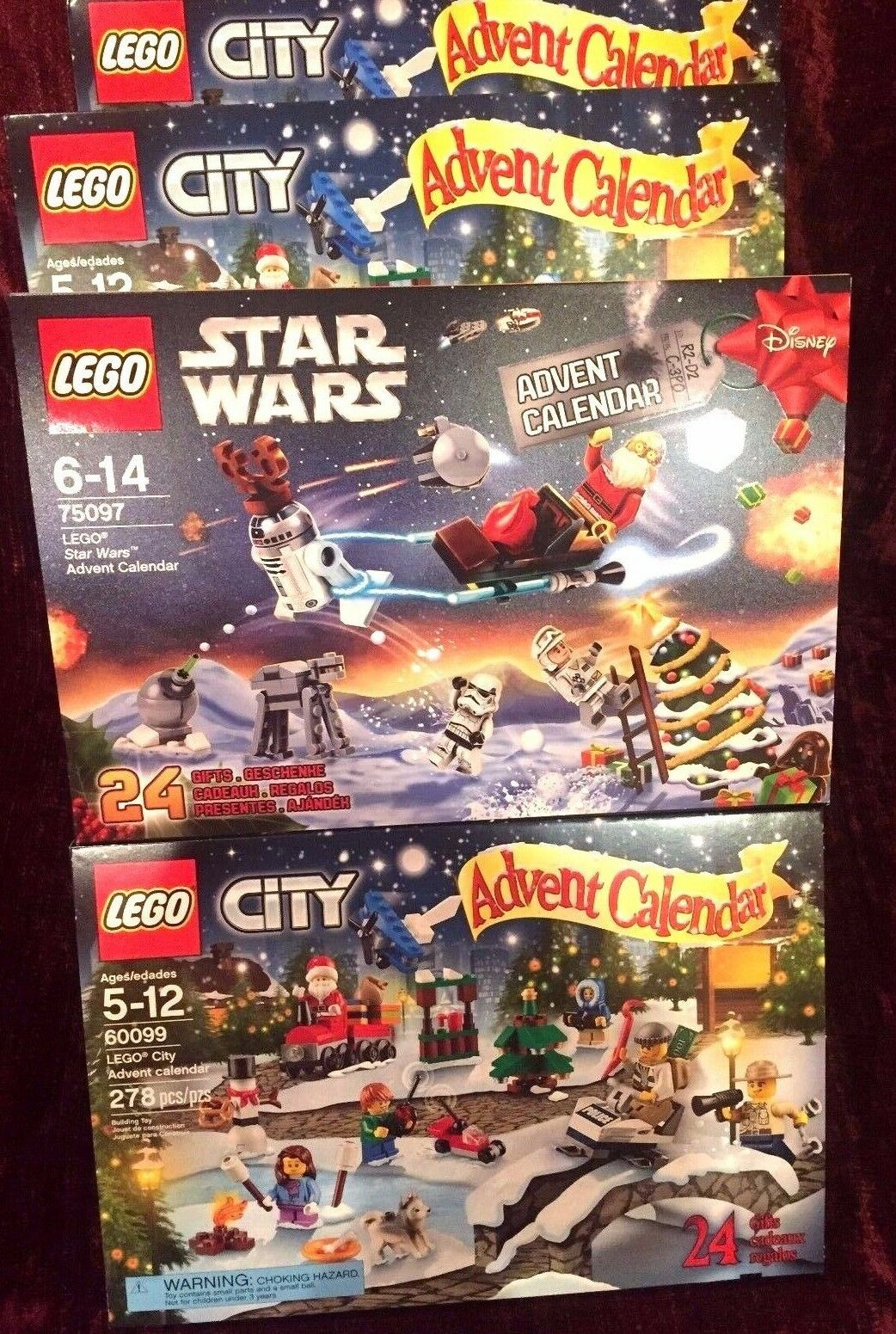 2015 LEGO Star Wars  75097  plus Lego City  60099  Advent Calendars Combo Deal