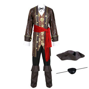 10-teiliges DELUXE Herrenkostüm - Pirat 5 - Gr. M/L Fluch der Karibik Kostüm