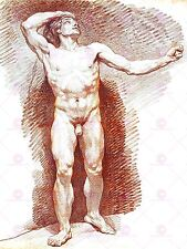 PAINTING SKETCH LEPICIE STANDING MALE NUDE LARGE ART PRINT POSTER LF1657
