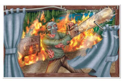 BEISTLE HALLOWEEN 3/' x 5/' WALL DECORATION HORROR CHAINSAW KILLER