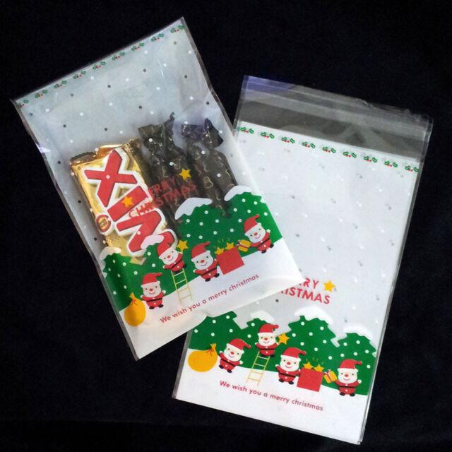 Peel N seal little santa xmas cello cellophane party treat cookie candy bag